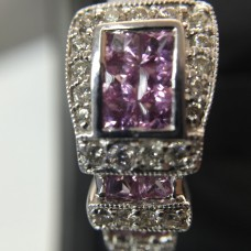18Kt White Gold Pink Sapphire Buckle Ring